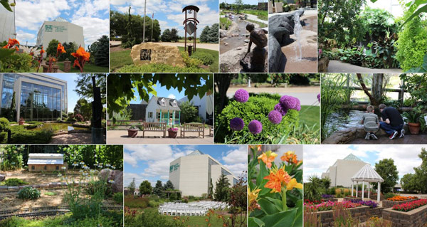 A photo collage showing the inside and outside of the Quad Cities Botanical Center